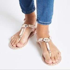 NWT River Island Pinkish Cream Studd Jelly Sandal
